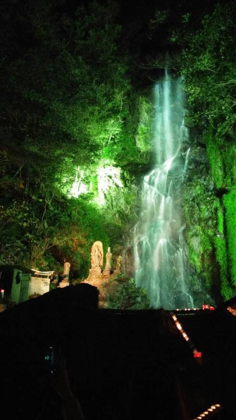 The Kiyomizu falls are illuminated for the occasion. Photo credit Lera